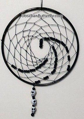 black dream catcher, from www.ObsidianButterfly.com