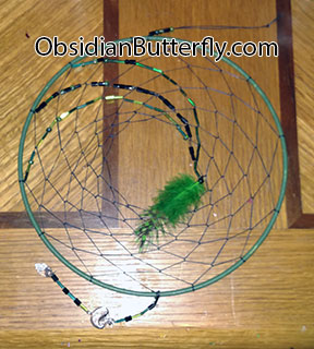 green and black dreamcatcher, from ObsdianButterfly.com